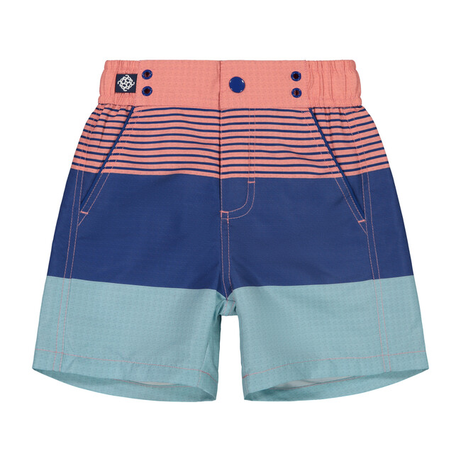 Colorblocked Swim Trunk, Coral Stripe