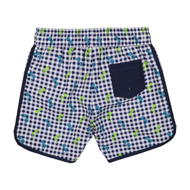 Swim Trunk, Navy Gingham