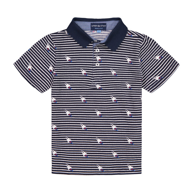Spaceship Printed Short Sleeve Polo, Navy