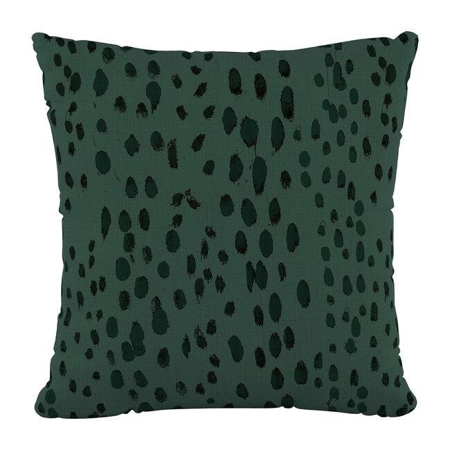 "18"" Decorative Pillow, Emerald Leopard Linen"