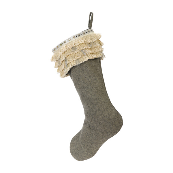 Christmas Stocking in Hand Felted Wool, Fringe on Gray