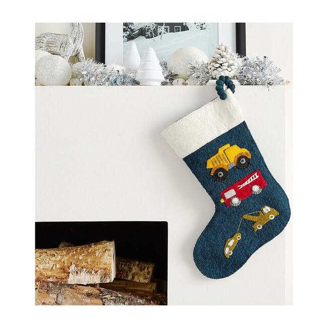 Christmas Stocking in Hand Felted Wool, Trucks on Navy
