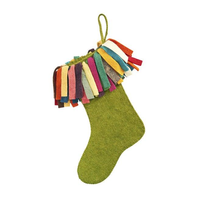 Fringe Christmas Stocking, Chartreuse/Multi