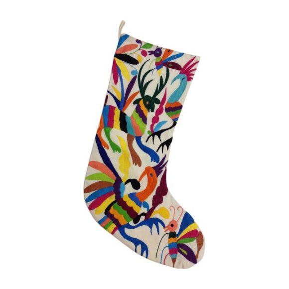 Otomi Embroidered Stocking, Natural/Multi
