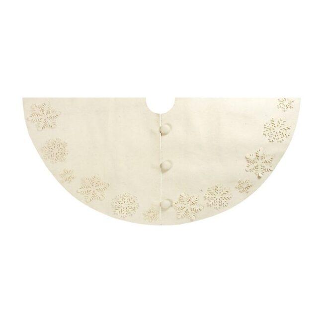 Tacked Snowflakes Tree Skirt, Cream