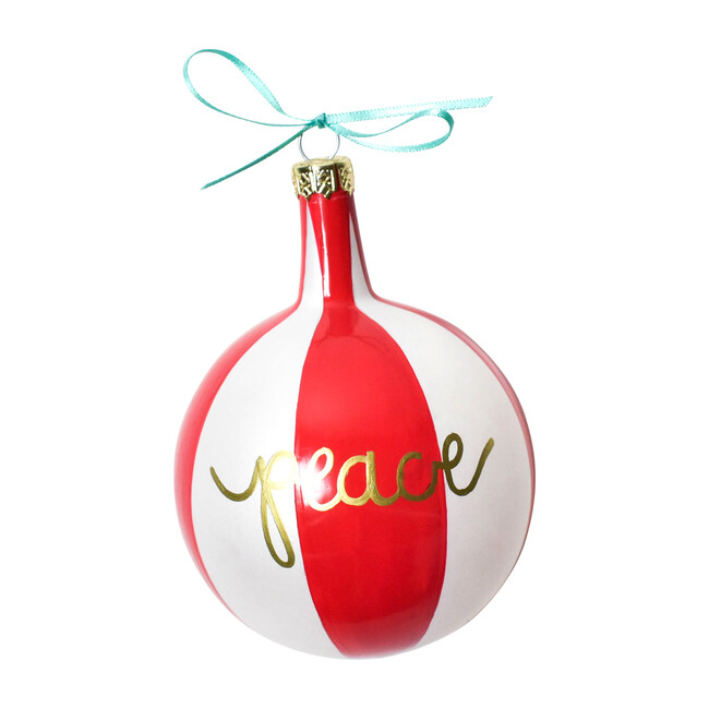 Christmas Sprits Peace Ornament, Red Stripe