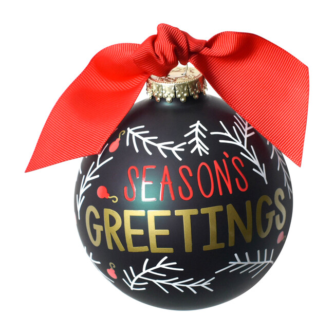 Season's Greetings Ball Ornament, Green