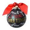 Season's Greetings Ball Ornament, Green - Ornaments - 1 - thumbnail