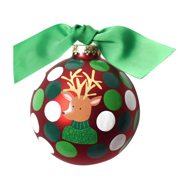 Jingle Reindeer Ball Ornament, Red
