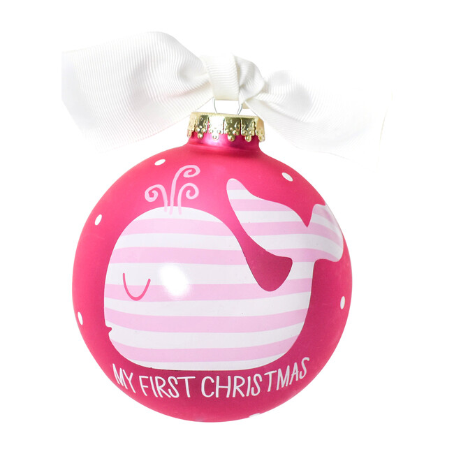 First Christmas Whale Ornament, Pink