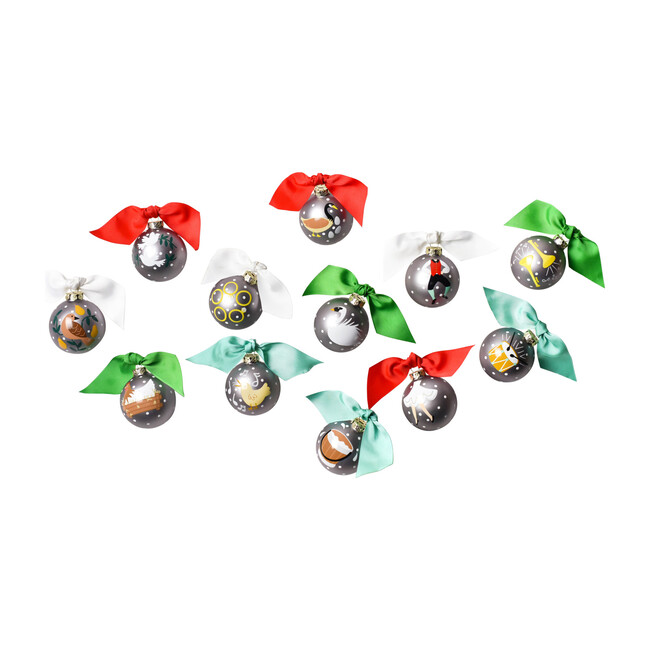 12 Days of Christmas Ornament Set, Silver Multi