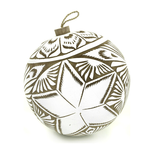 Hand Carved Gourd Ornament, White
