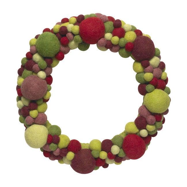 Handmade Ball Wreath, Red/Green Multi
