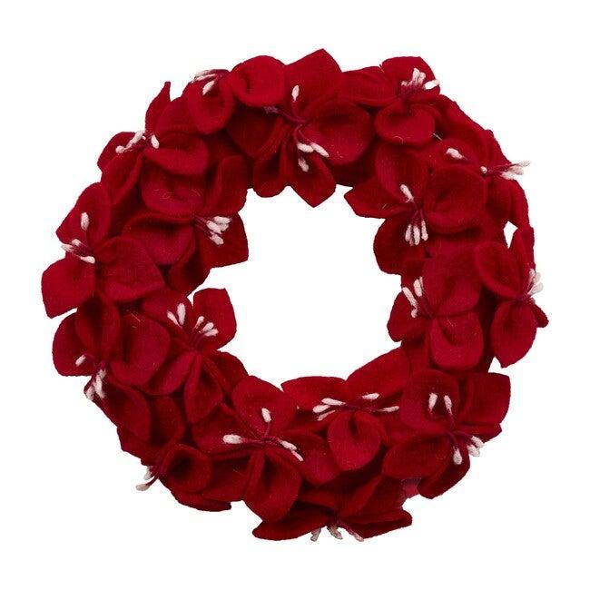 Handmade Hand Felted Wool Wreath, Red Amaryllis Flowers