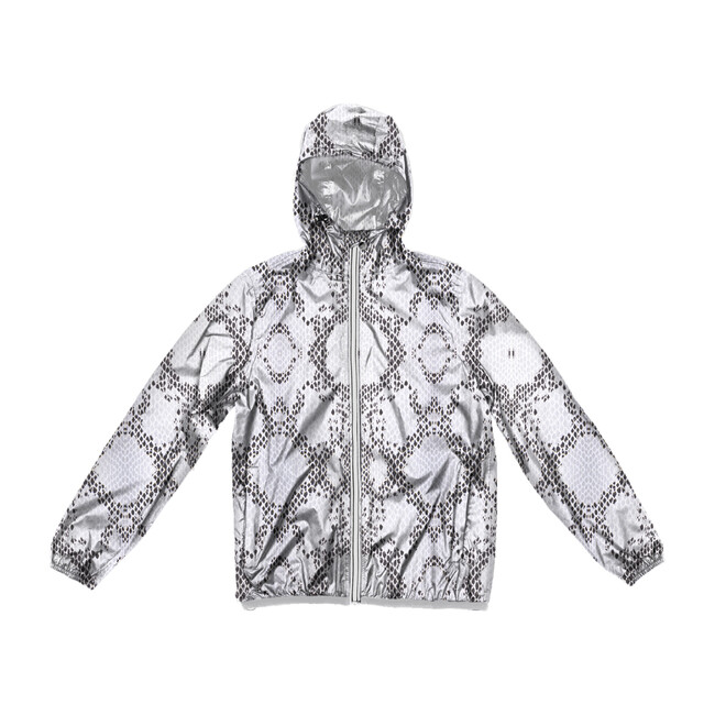 Women's Sloane Print Packable Rain Jacket, White Python