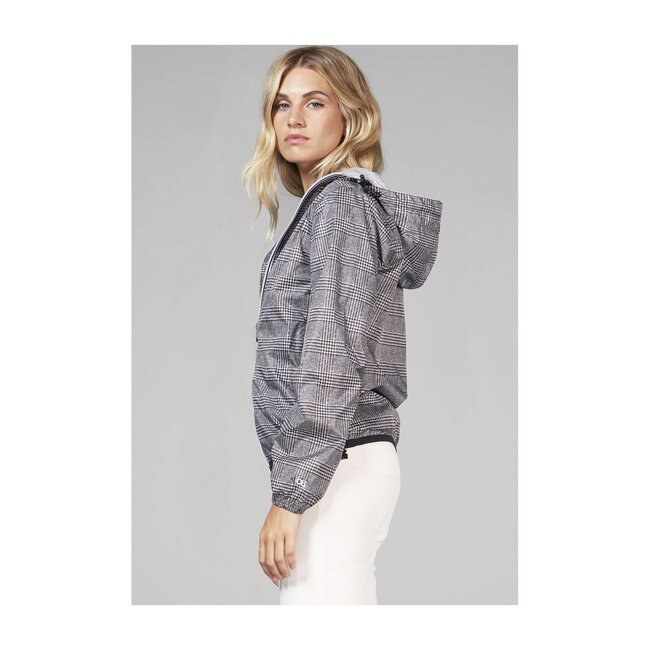 Women's Sloane Print Packable Rain Jacket, Black Plaid