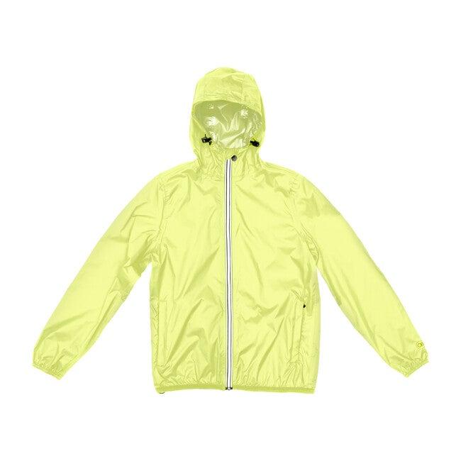 Adult Unisex Mel Full  Zip Packable Rain Jacket, Yellow Fluo