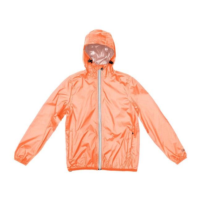 Adult Unisex Mel Full  Zip Packable Rain Jacket, Orange Fluo