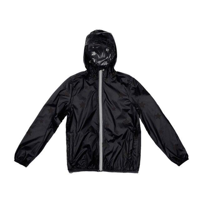 Women's Sloane Print Packable Rain Jacket, Black On Black Gloss Stars