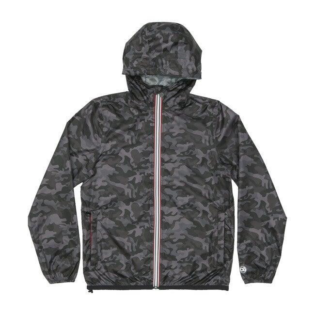 Men's Max Print Packable Rain Jacket, Black Camo