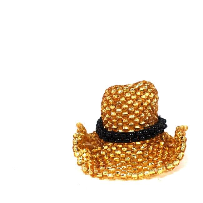 Beaded Cowboy Hat Ornament, Gold