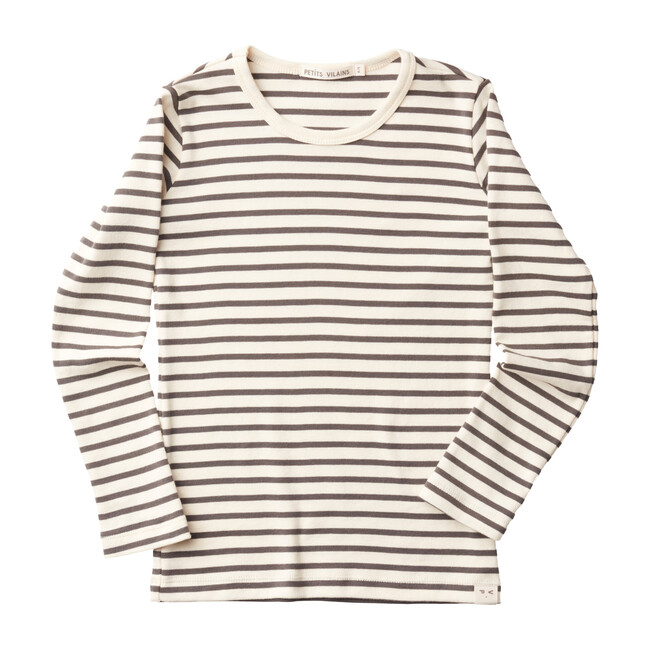Lucien Long Sleeve Tee, Natural & Charcoal Stripe