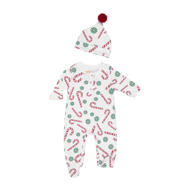 Onesie & Hat Pajamas Set, Candy Canes