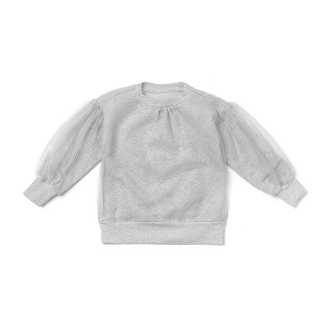 Tulle Layer Terry Sweatshirt, Grey