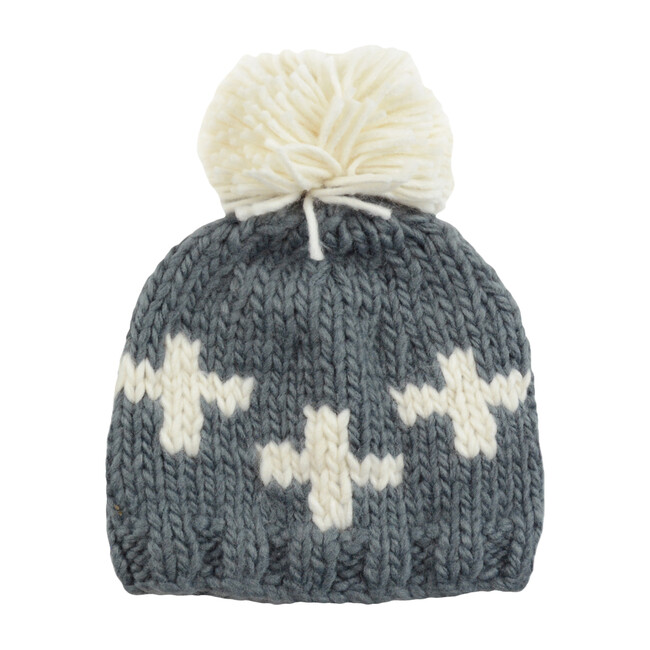 Miko Swiss Cross Knit Hat, Gray & Cream