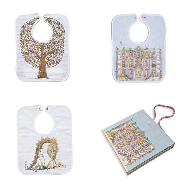Toddler Bib Trio Set, Friends & Family Tree +  Monceau Mansion + Naptime at the Museum