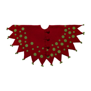Felt Christmas Tree Skirt, Jester in Red and Green