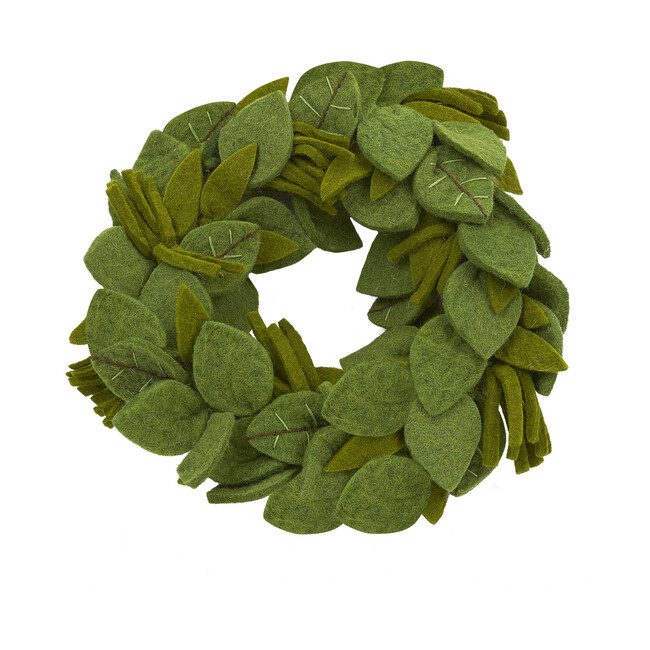 Green Leaves Wreath with Embroidery