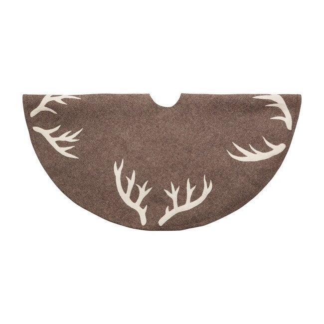 Christmas Tree Skirt, Antlers on Grey