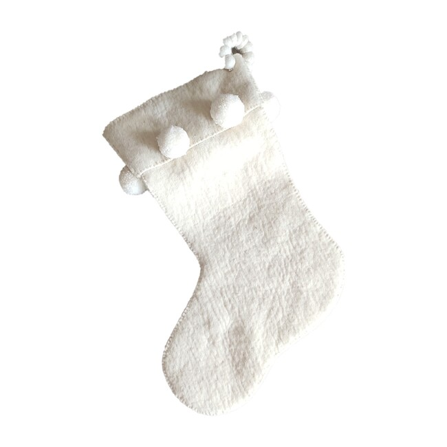 Christmas Stocking in Hand Felted Wool, Cream Pom Pom