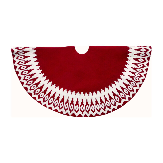 Christmas Tree Skirt, Red Scandinavian Sweater