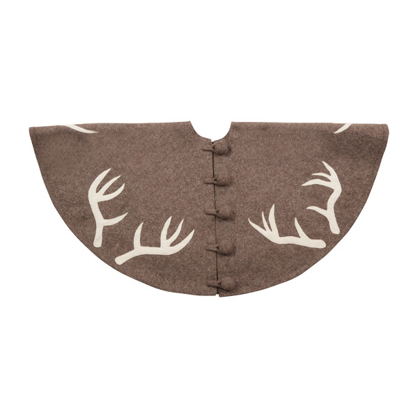 Christmas Tree Skirt, Antlers on Grey