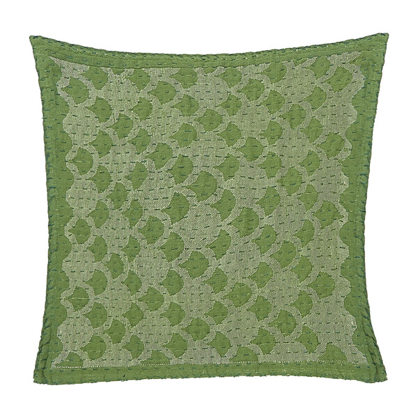 Cotton Square Pillow, Green Ginkgo