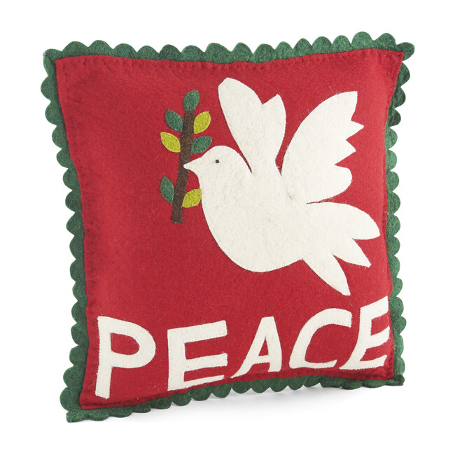Hand Felted Wool Pillow, Dove of Peace - Accents - 0