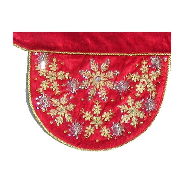 Velvet Mantle Scarf with Hand Beading, Red
