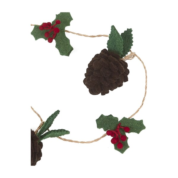 Pinecones and Holly Berries Garland