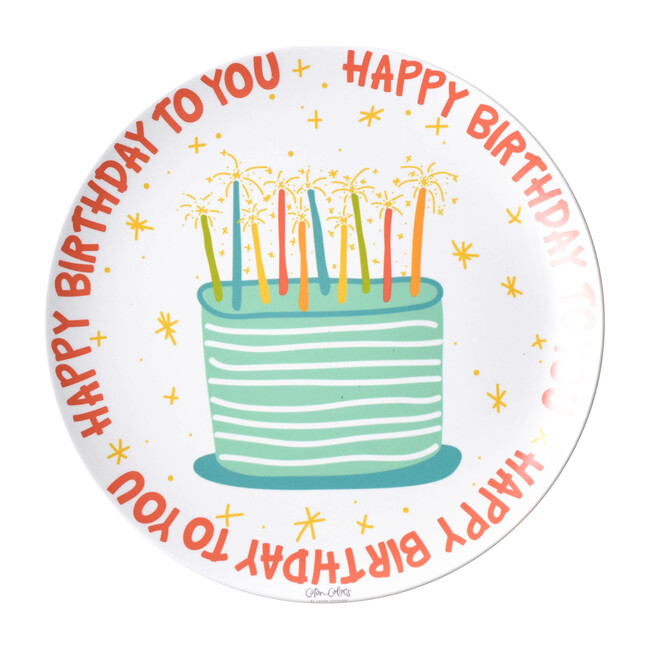 Happy Birthday Melamine Plate, Red Multi