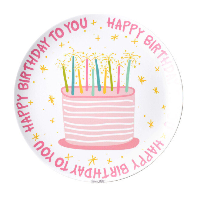 Happy Birthday Melamine Plate, Pink Multi