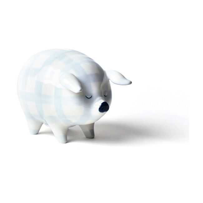Piggy Bank, Blue Gingham
