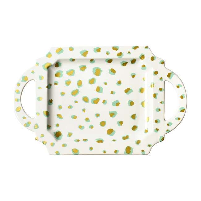Double Dot Handled Tray, Mint - Accents - 1