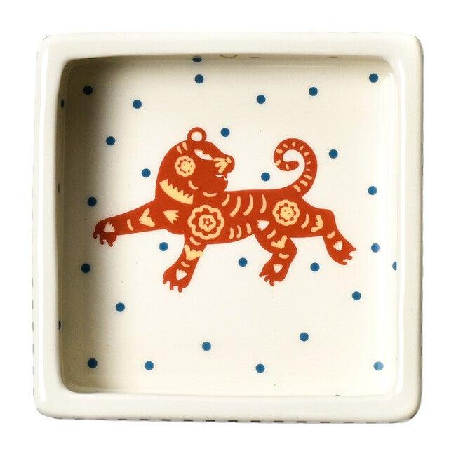 Chinese Zodiac Square Trinket Bowl, Tiger