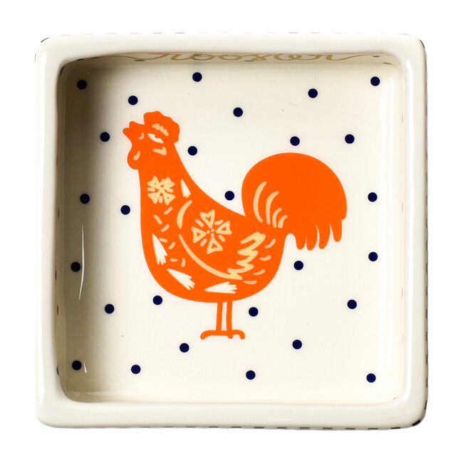 Chinese Zodiac Square Trinket Bowl, Rooster