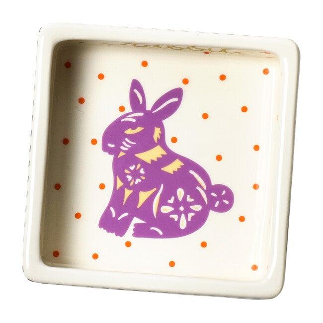Chinese Zodiac Square Trinket Bowl, Rabbit