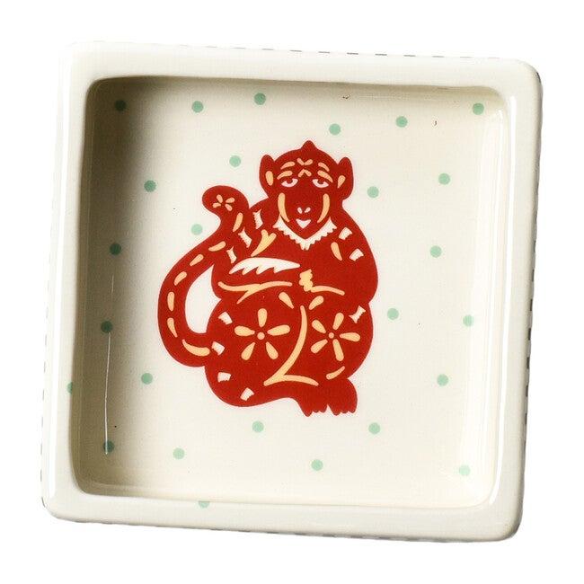 Chinese Zodiac Square Trinket Bowl, Monkey