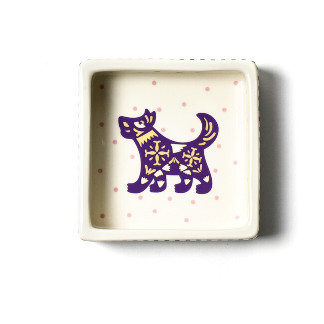 Chinese Zodiac Square Trinket Bowl, Dog - Accents - 1