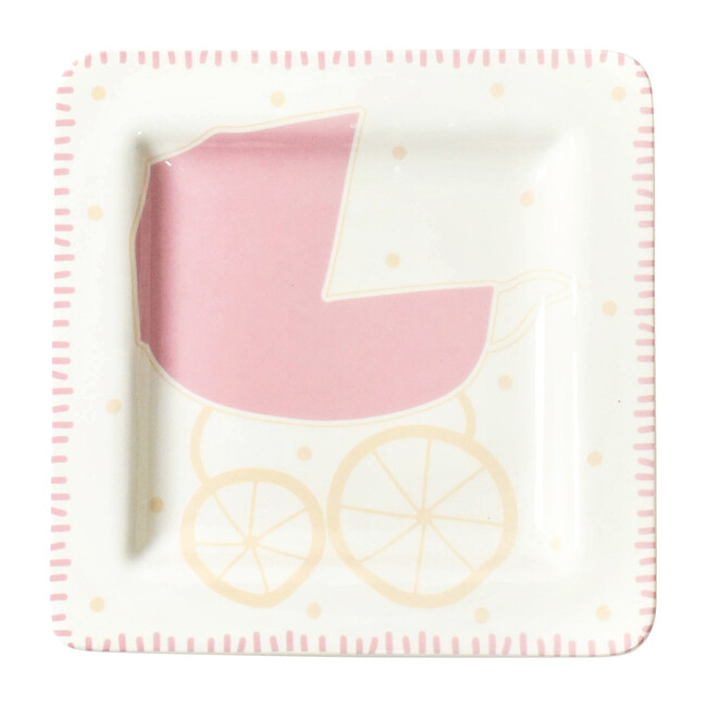 Baby Carriage Square Plate, Girl